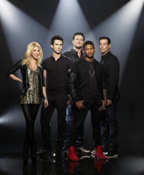 The Voice Cast: Shakira, Adam Levine, Usher, Blake Shelton, Carson Daly