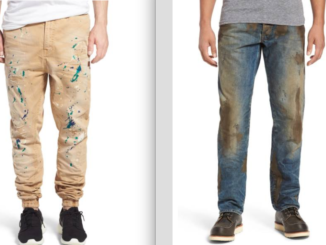 paint and dirt covered pants