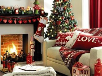 cozy living room with christmas decorations