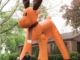 Two story tall inflatable reindeer outdoor decoration