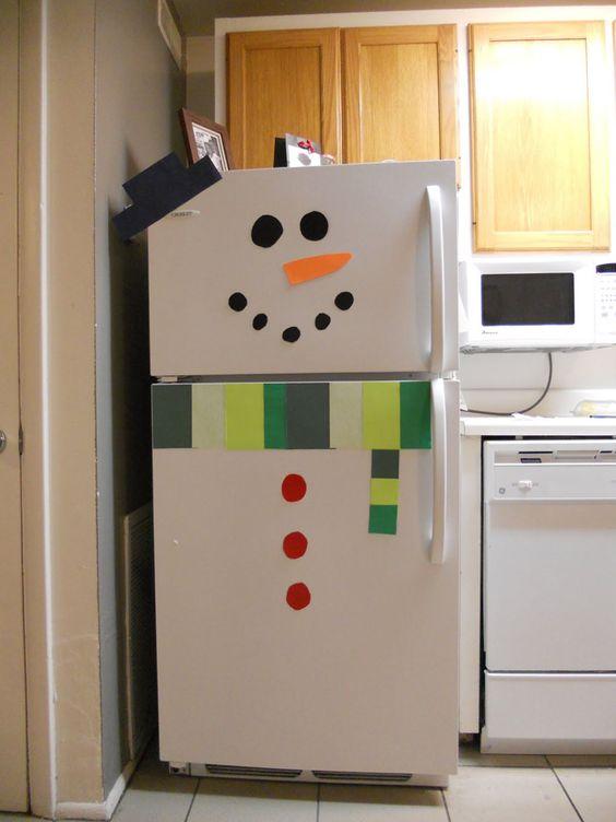 construction paper snowman fridge